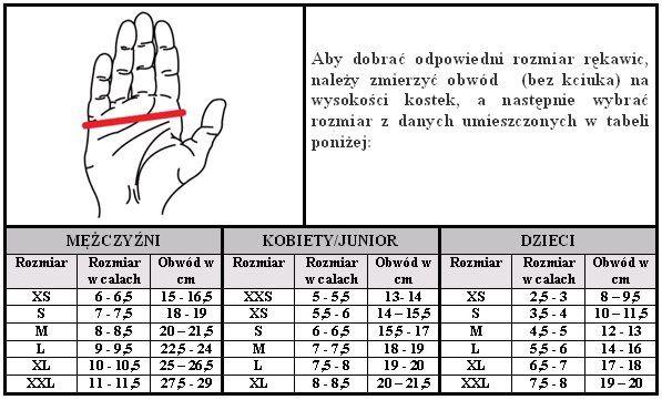 Znalezione obrazy dla zapytania rozmiarówka rękawiczek